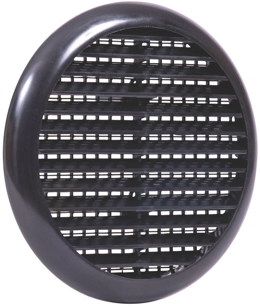 Map Vent Fixed Louvre Vent with Flyscreen Black 145 x 145mm