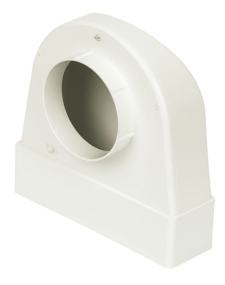 Manrose PVC Round to Rectangular Flat Channel Appliance Connector Elbow 90° Bend White 212mm x 100mm
