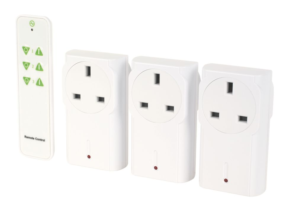 Lightwave  13A Plug-Through On/Off Adaptors with Remote Control White