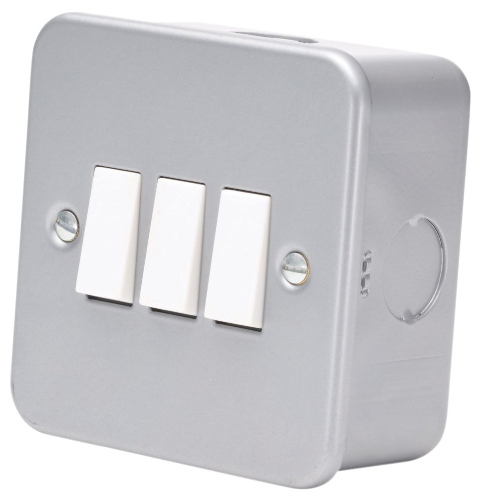 10AX 3-Gang 2-Way Metal Clad Switch with White Inserts