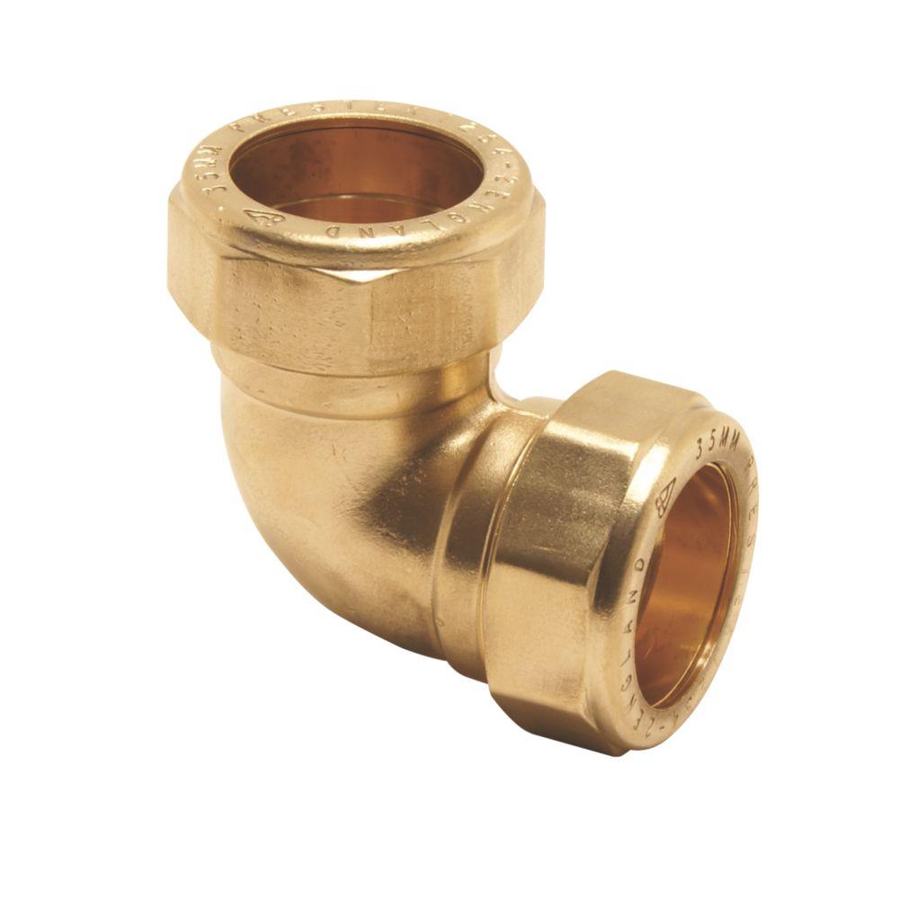Pegler PX44 Brass Compression Equal 90° Elbows 15mm 5 Pack