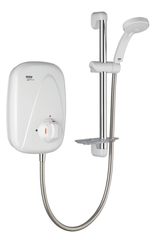 Mira Go Rear-Fed White / Chrome  Power Shower