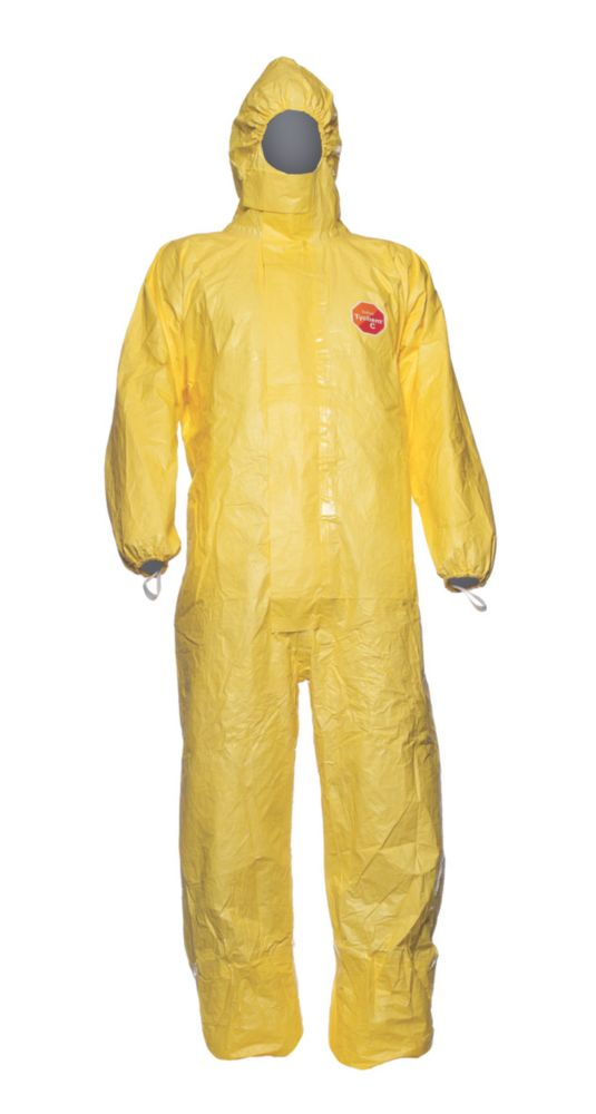 """DuPont Tychem C Disposable Chemical Coverall Yellow X Large 45"""" Chest 31"""" L"""