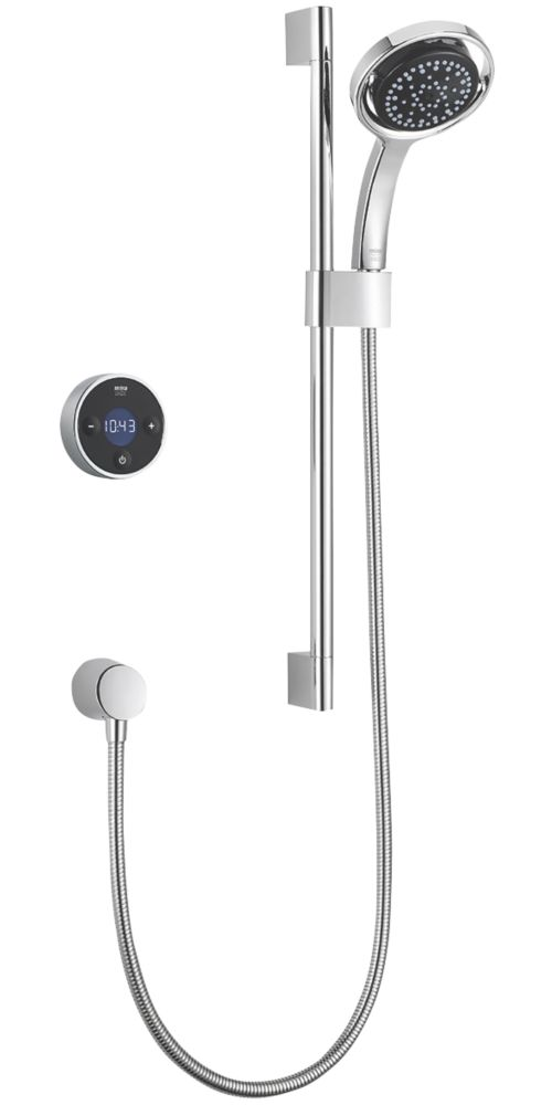 Mira Platinum Gravity-Pumped Rear-Fed Single Outlet Black / Chrome Thermostatic Wireless Digital Mixer Shower