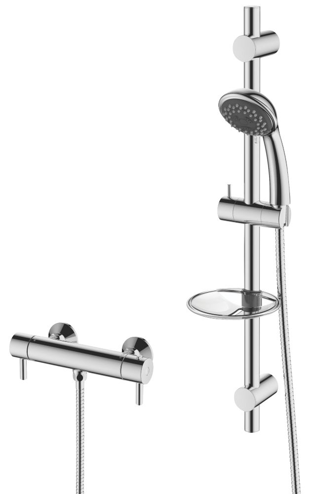 Cooke & Lewis Mala Rear-Fed Exposed Chrome Thermostatic Mixer Shower