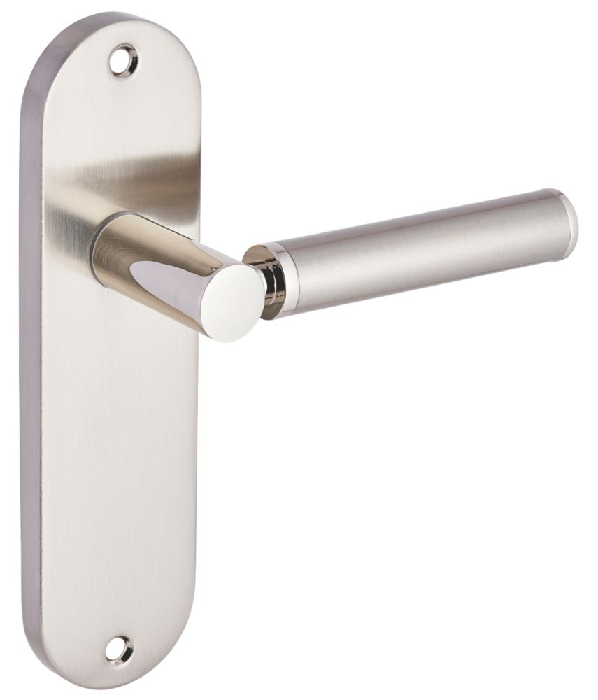 Smith & Locke Lyme Fire Rated Latch Lever Door Handles Pair Chrome / Brushed Nickel