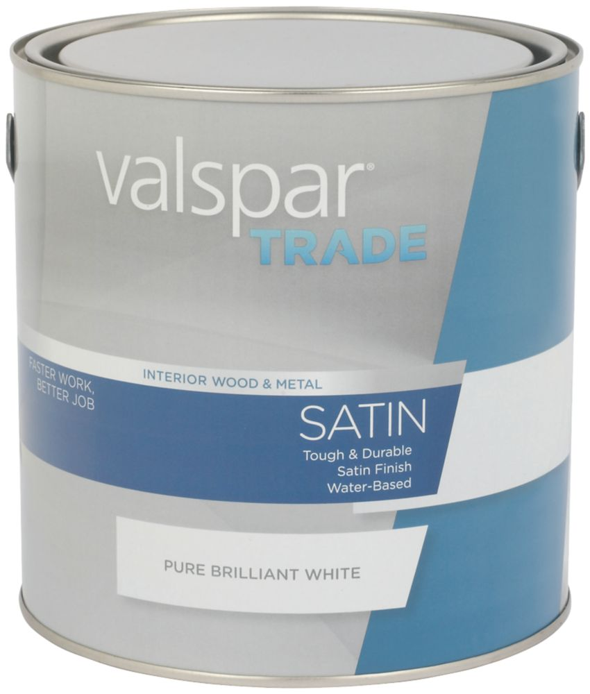 Valspar Trade Satin Wood & Metal Paint Pure Brilliant White 2.5Ltr