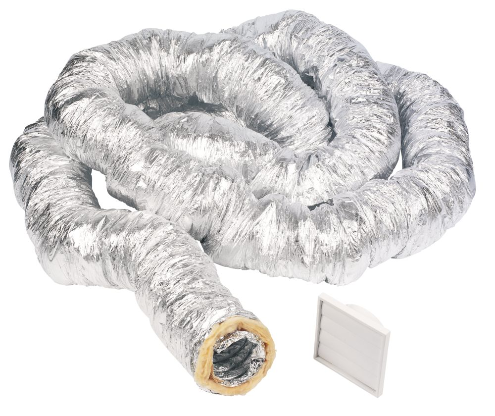 Manrose Aluminium Insulated Flexible Ducting Hose Silver 10m x 127mm