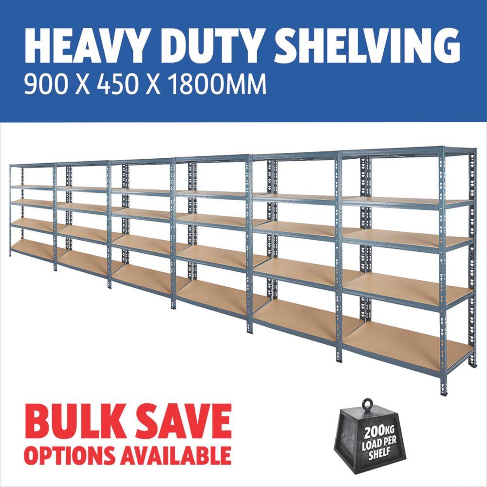 5-Tier Steel Heavy Duty Shelving 900 x 450 x 1800mm