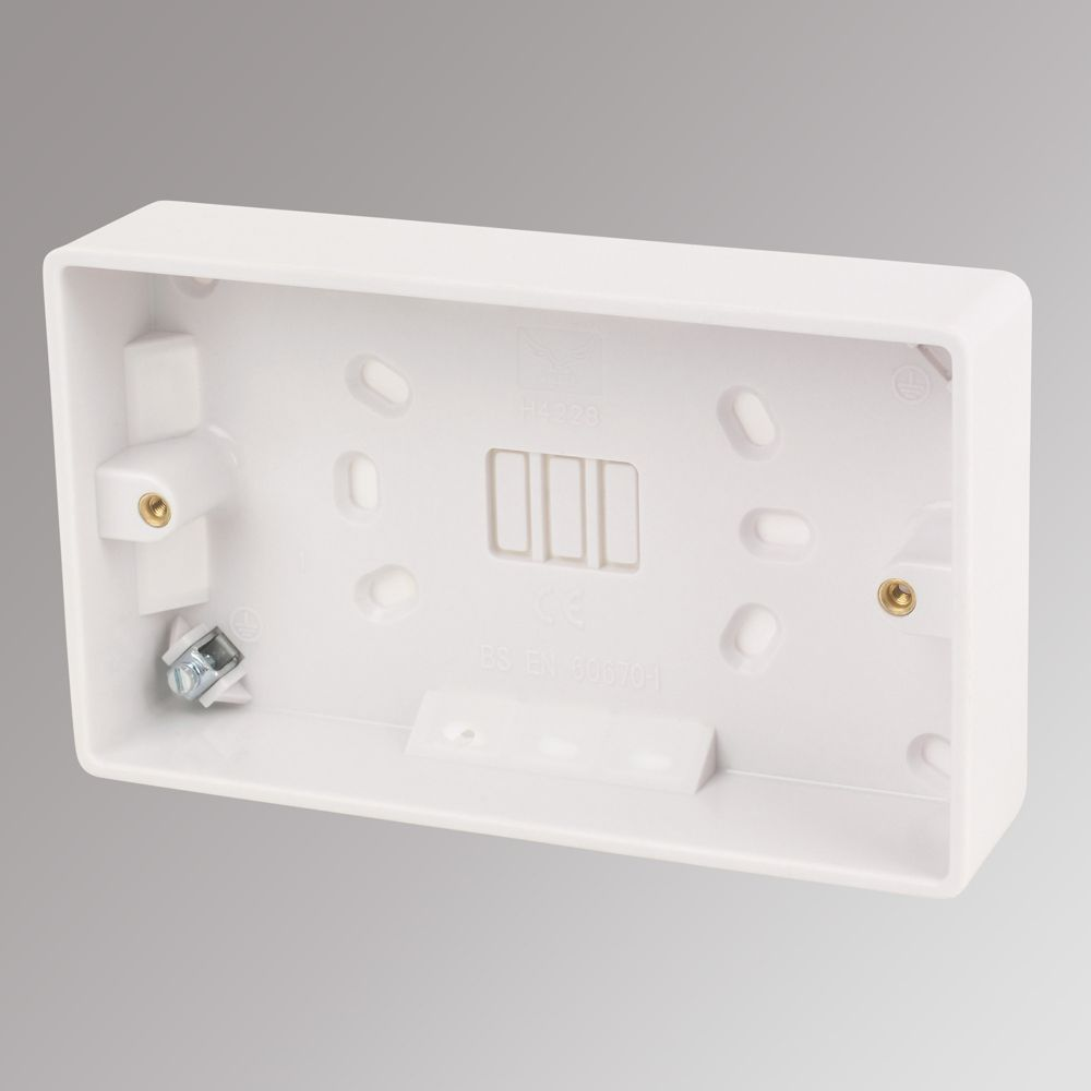 LAP 2-Gang Surface Pattress Box with Earth Terminal White 32mm