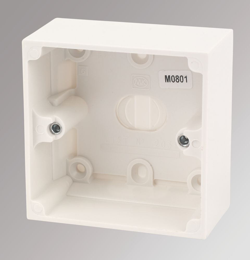 MK Logic Plus 1-Gang Surface Pattress Box White 44mm