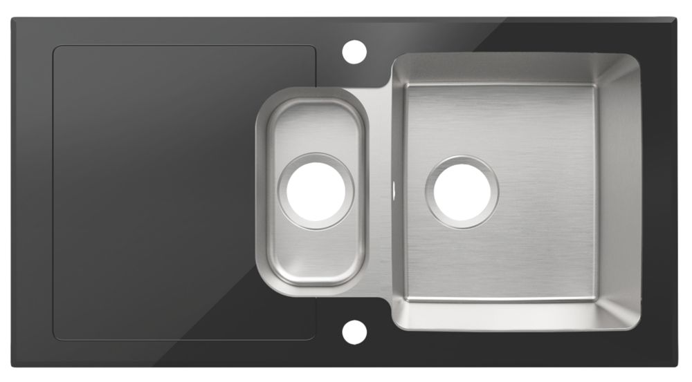 Cooke & Lewis Christianna Stainless Steel & Glass Top Kitchen Sink & Drainer 1.5 Bowl Reversible 950 x 500mm