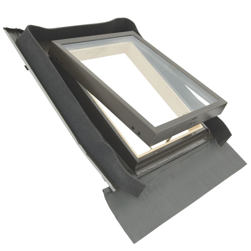 Tyrem   Manual Top-Hung Lacquered Natural Pine  Skylight Clear 440 x 550mm
