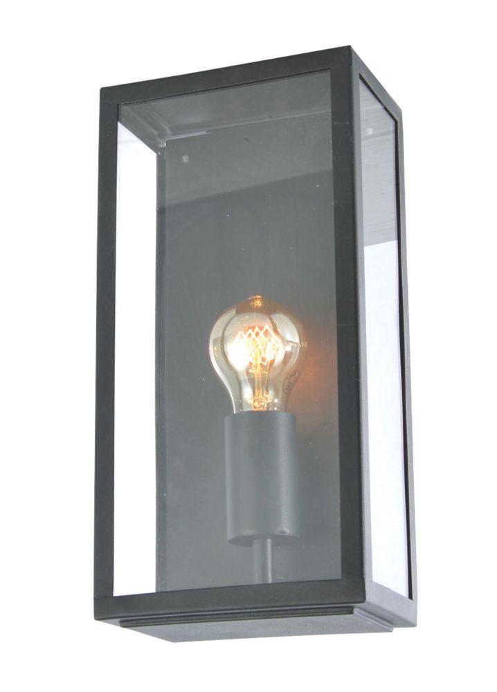 Zinc Minerva Outdoor Metal Framed Box Lantern Black