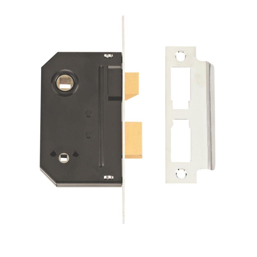 Union Chrome Bathroom Mortice Lock 63mm Case - 44mm Backset