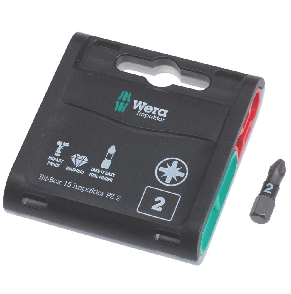 Wera Bit-Box Impaktor TriTorsion Diamond Coated Bits PZ2 x 25mm 15 Pack