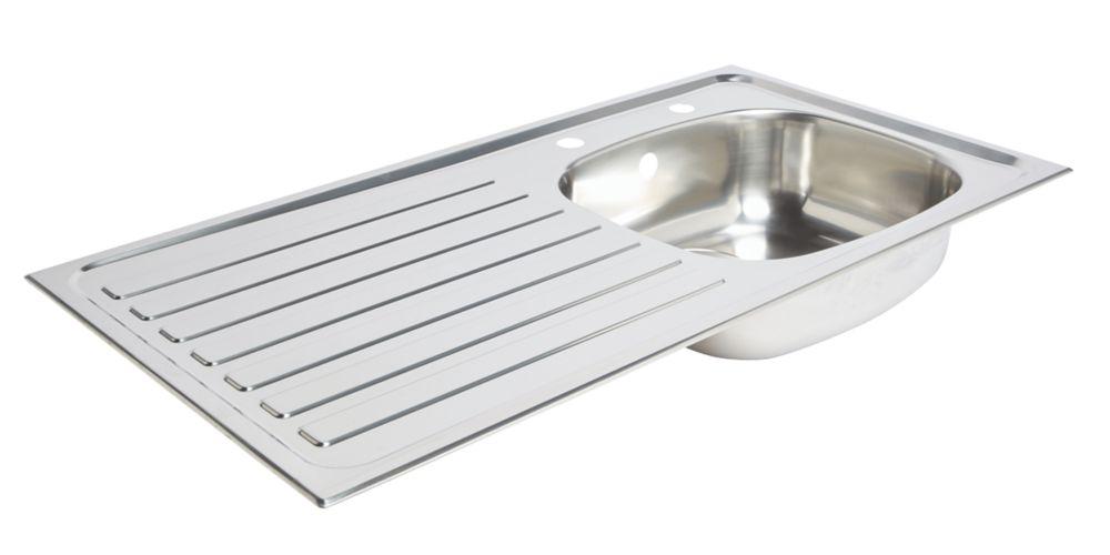 Kitchen Sink & Left-Hand Drainer Stainless Steel 1 Bowl 940 x 490mm