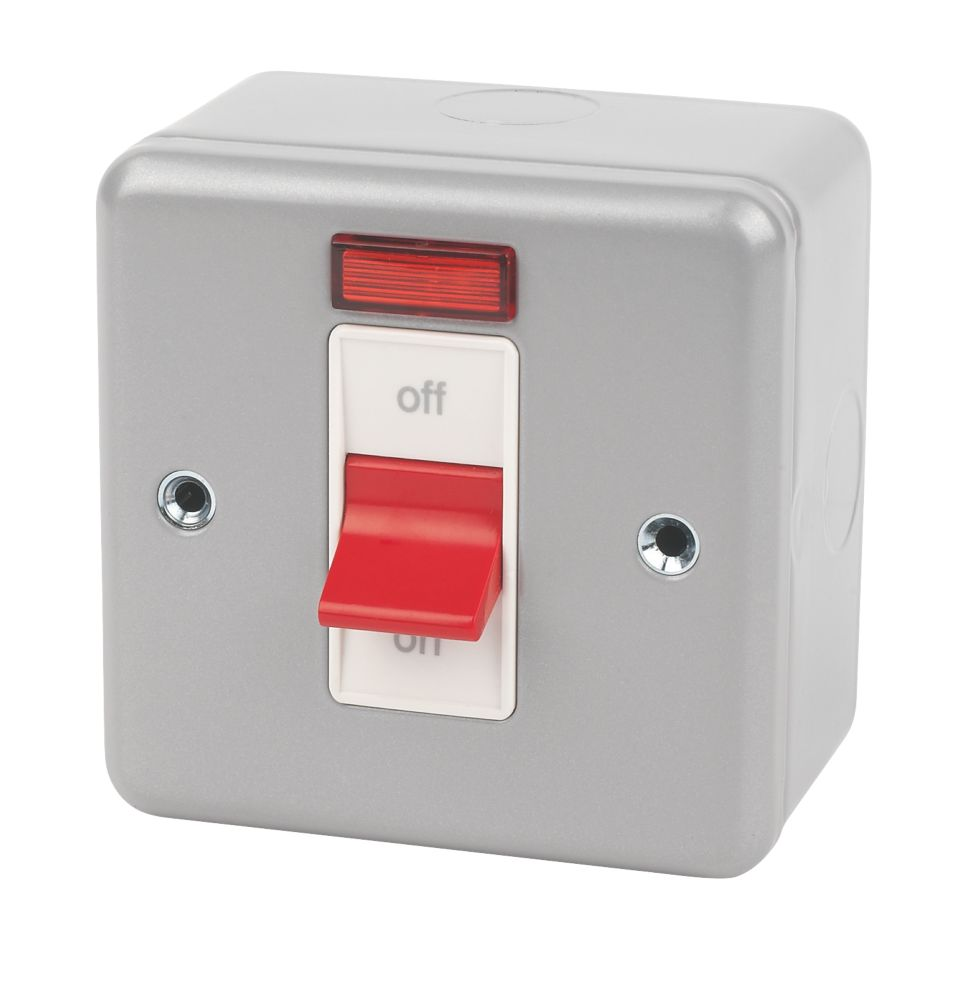 MK Metalclad Plus 32A 1-Gang DP Metal Clad Control Switch with Neon with White Inserts