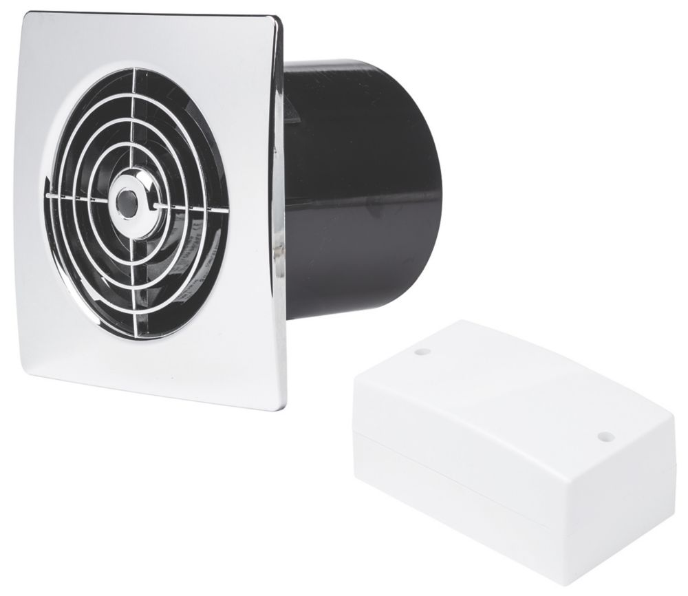 Manrose LP100SLVC 15W Bathroom Extractor Fan with Timer Chrome 12V