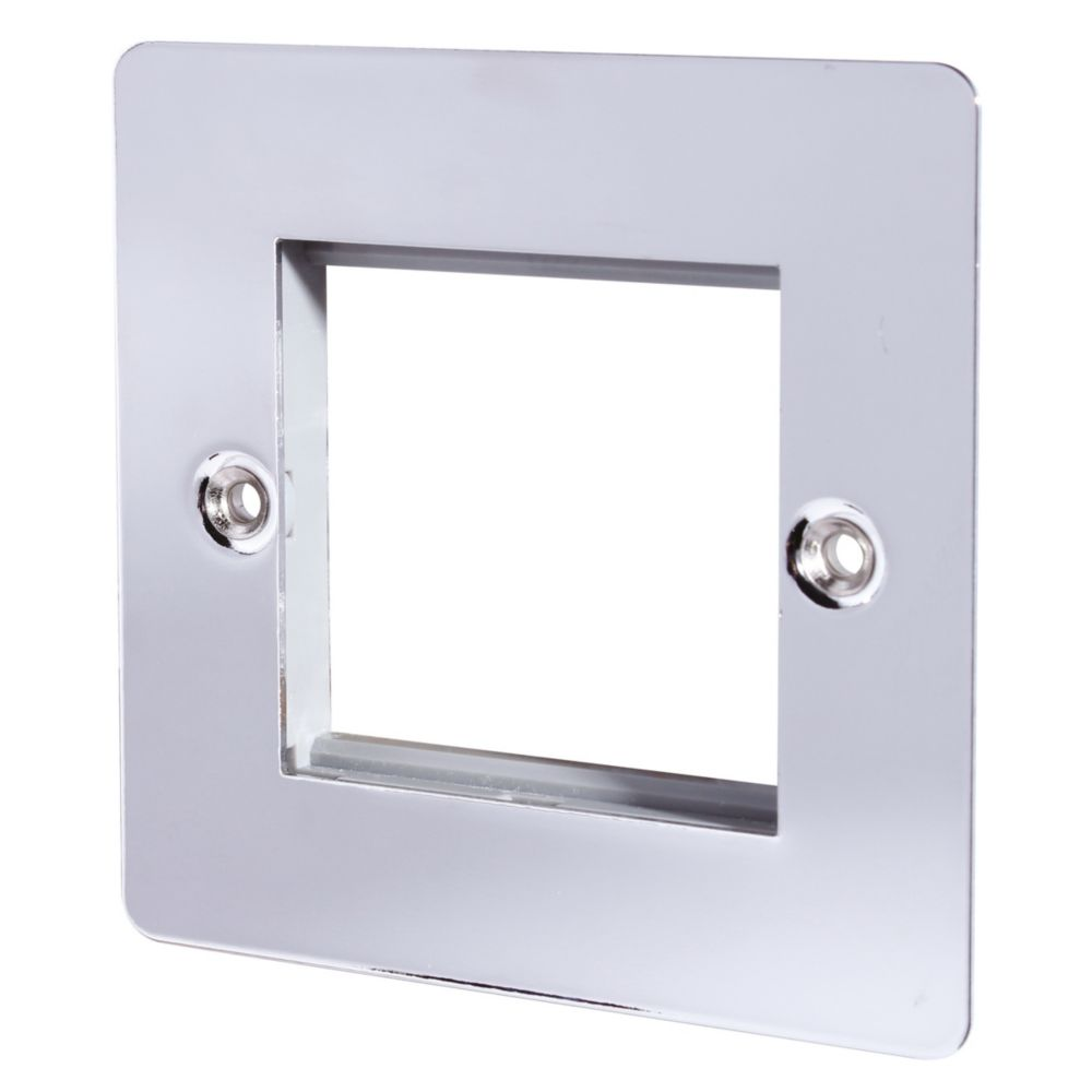 LAP 1-Gang Front Plate with Double Module Aperture + Earth Polished Chrome