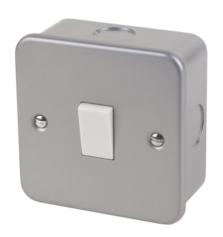 10AX 1-Gang 2-Way Metal Clad Switch with White Inserts
