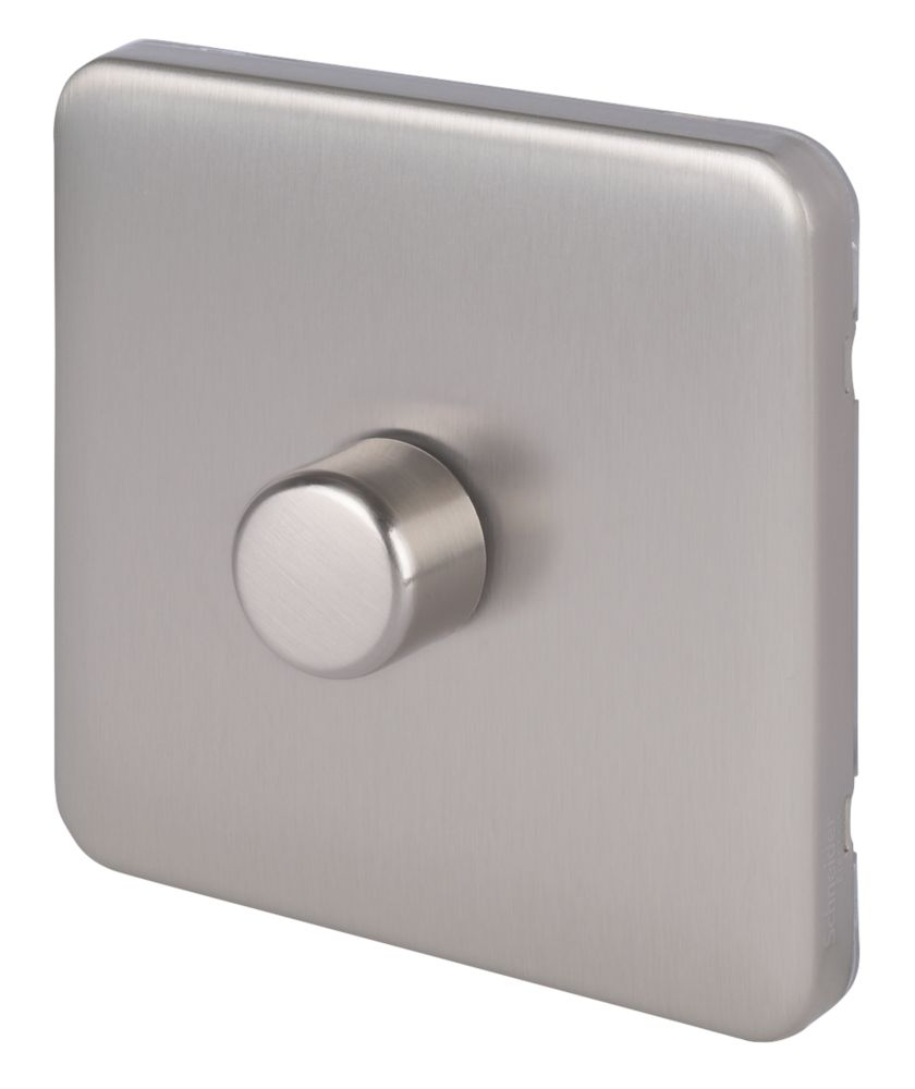Schneider Electric Lisse Deco 1-Gang 2-Way LED Dimmer  Brushed Stainless Steel