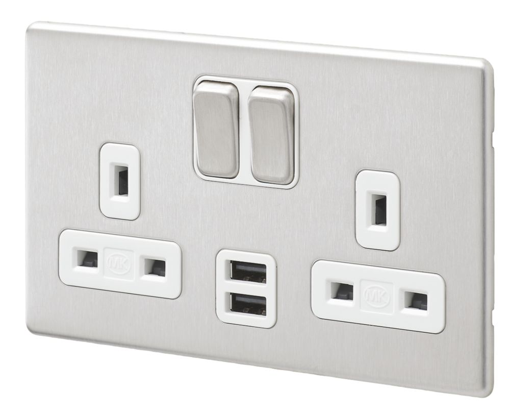 MK Aspect 13A 2-Gang DP Switched Socket + 2A 2-Outlet USB Charger Brushed Stainless Steel with White Inserts
