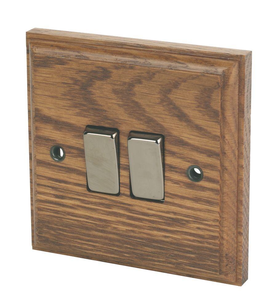 Varilight  10AX 2-Gang 2-Way Light Switch  Medium Oak