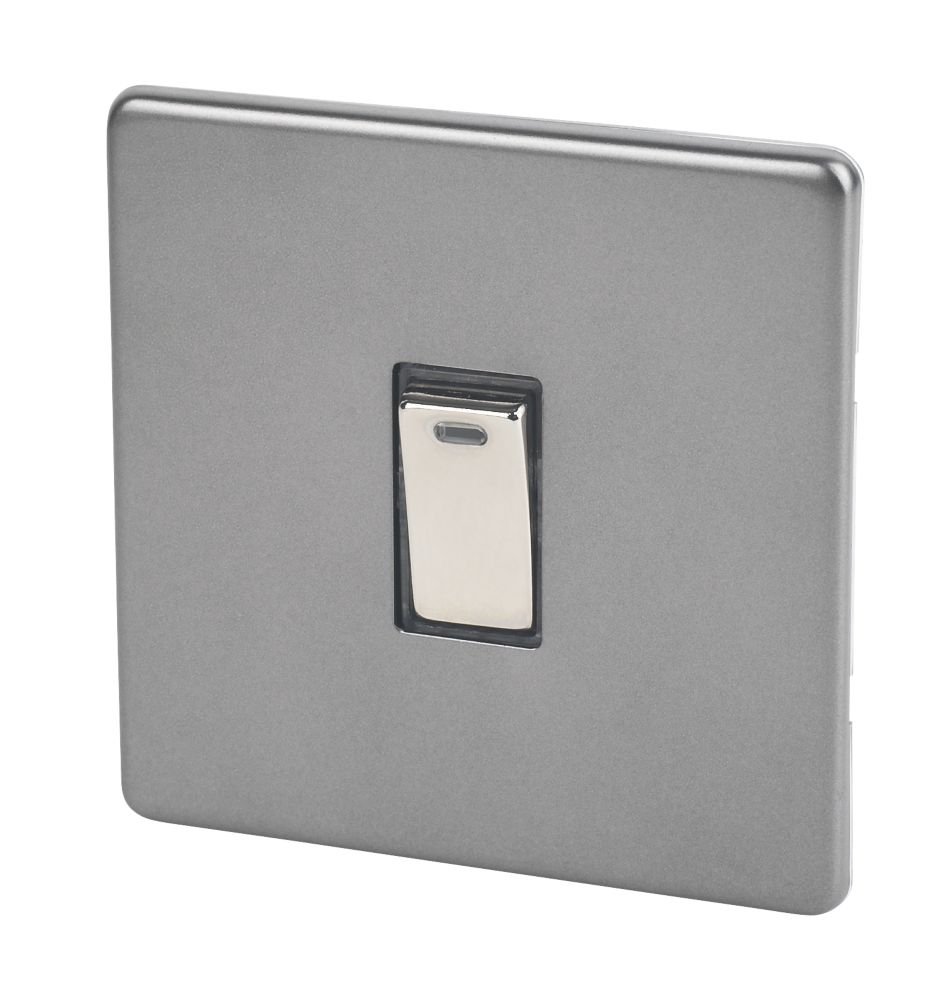 Varilight  20AX 1-Gang DP Control Switch Slate Grey with Neon with Black Inserts