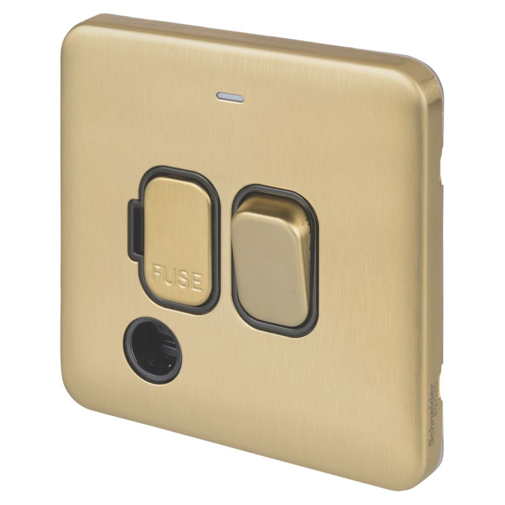 Schneider Electric Lisse Deco 13A Switched Fused Spur with LED Satin Brass with Black Inserts