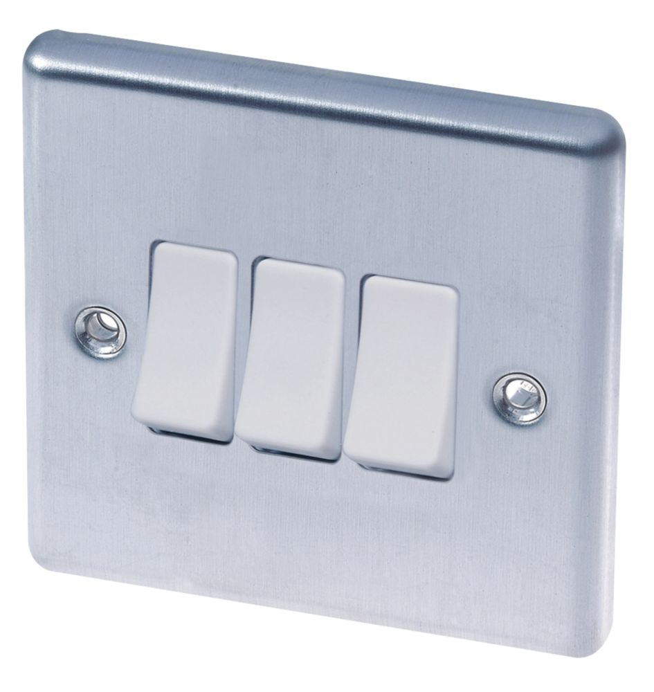 LAP  10AX 3-Gang 2-Way Light Switch  Brushed Stainless Steel with White Inserts