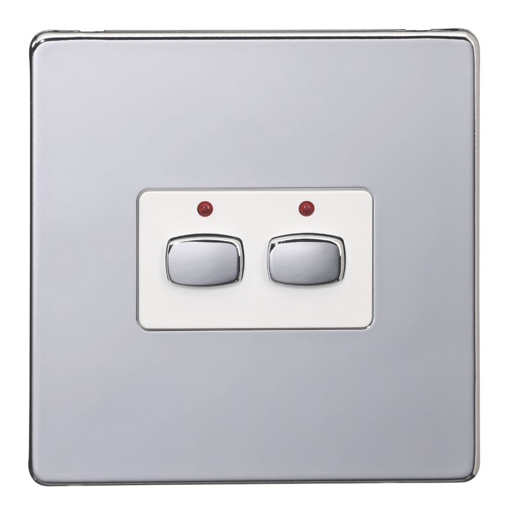 Energenie 2-Gang 2-Way Smart On/Off Light Switch Polished Chrome