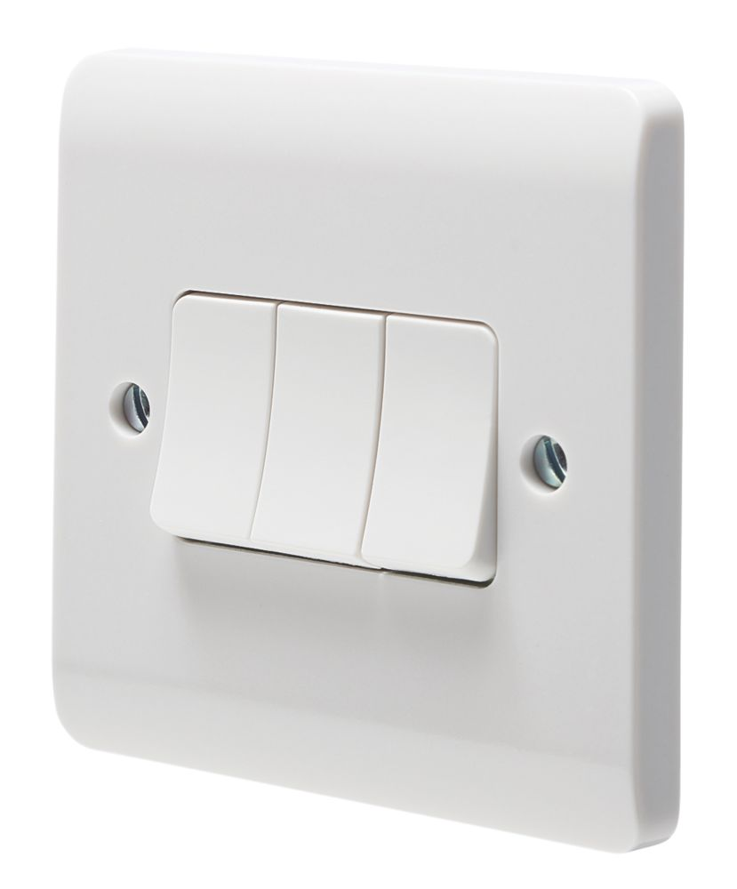Crabtree Instinct 10AX 3-Gang 2-Way Light Switch  White