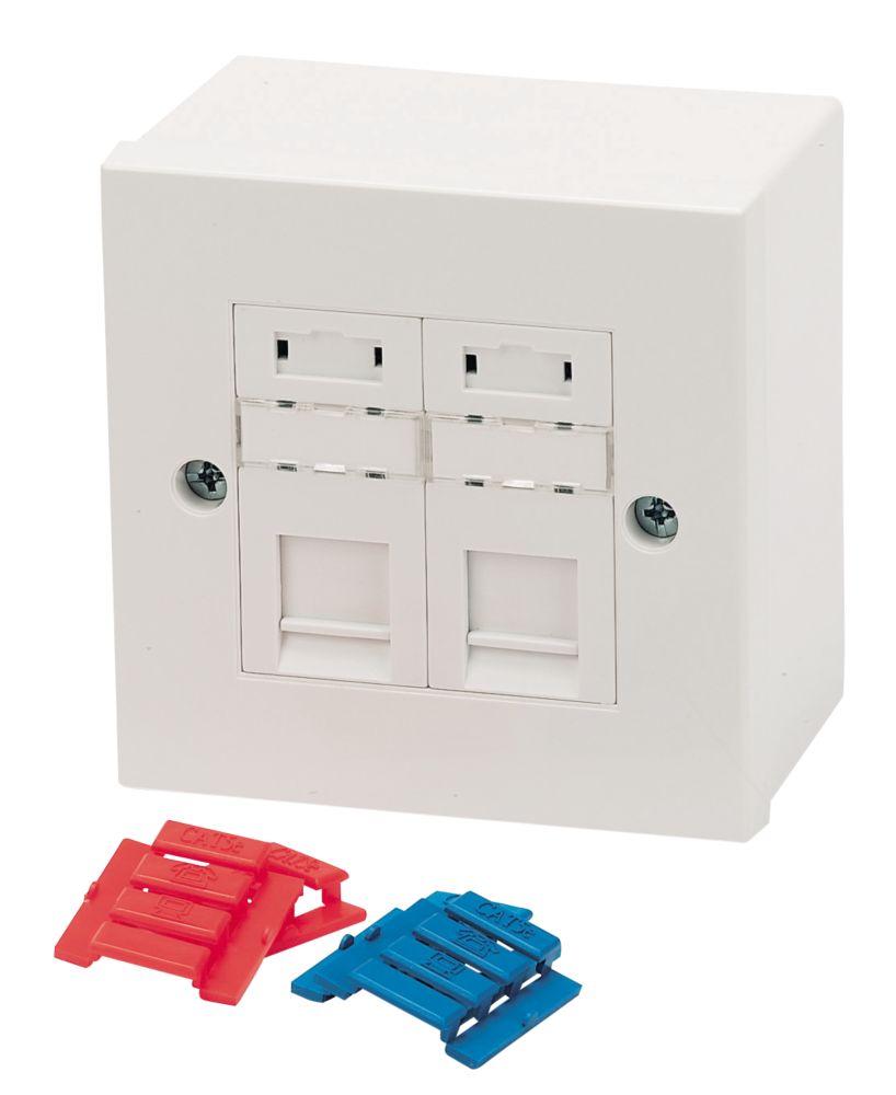 Philex Cat 5e 2-Port RJ45 Ethernet Socket White