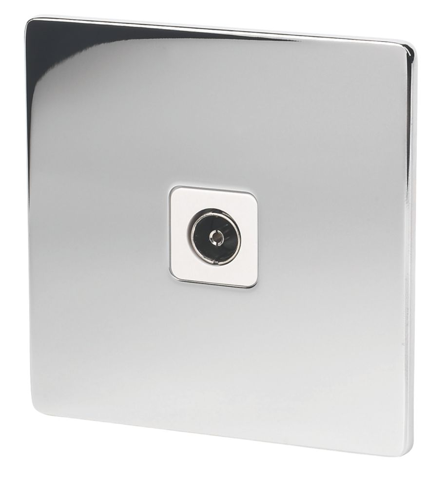 LAP  Coaxial TV Socket Polished Chrome with White Inserts