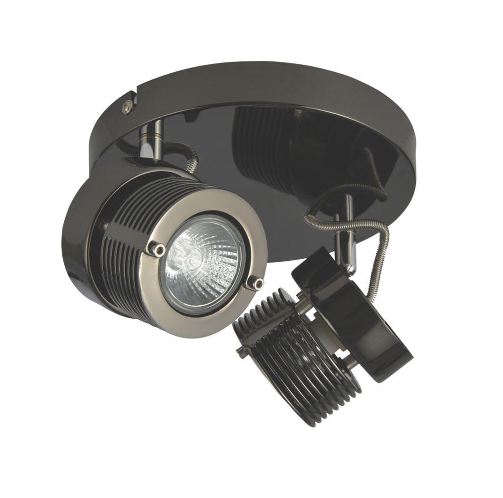 Inlight  Round 2-Light Spotlight Black Chrome