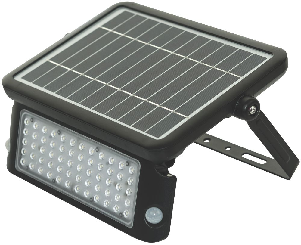 Luceco LEXSF11B40 LED High Power Solar Floodlight With PIR & Photocell Sensor Black