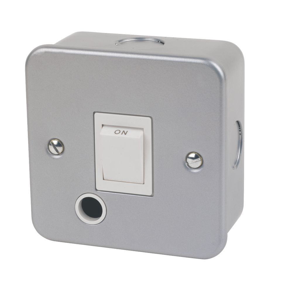 20A 1-Gang DP Metal Clad Control Switch  with White Inserts