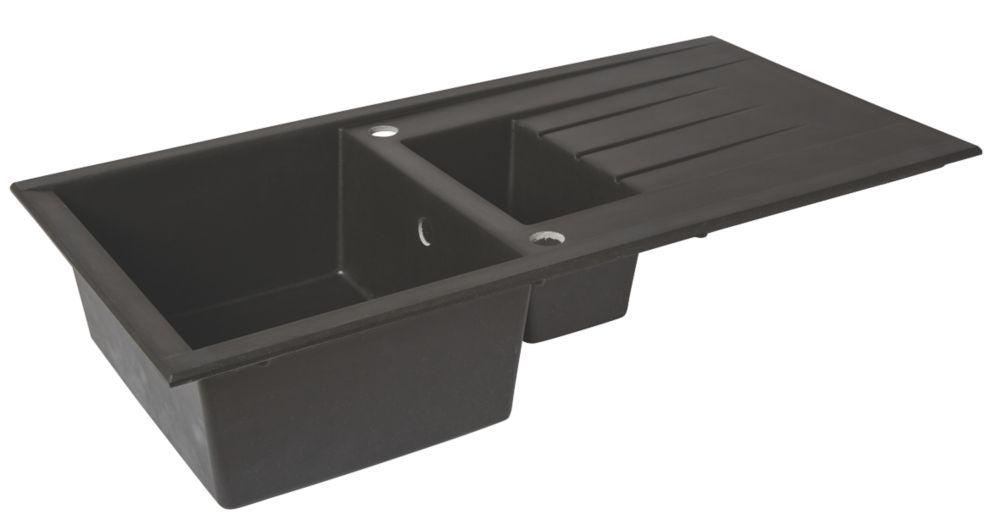 Plastic & Resin Kitchen Sink & Drainer Black 1.5 Bowl Reversible 1000 x 500mm