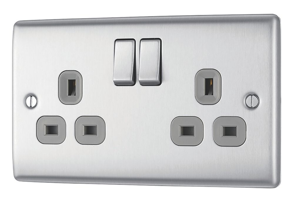 British General Nexus Metal 13A 2-Gang SP Switched Plug Socket Brushed Steel  with Graphite Inserts