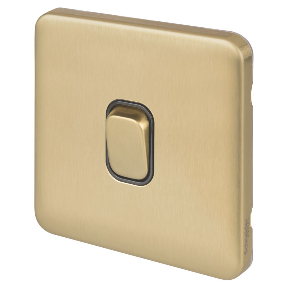 Schneider Electric Lisse Deco 10AX 1-Gang 2-Way Light Switch  Satin Brass with Black Inserts