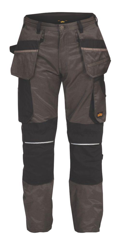 "Site Tanuki Holster Pocket Work Trousers Grey /  Black 40"" W 32"" L"