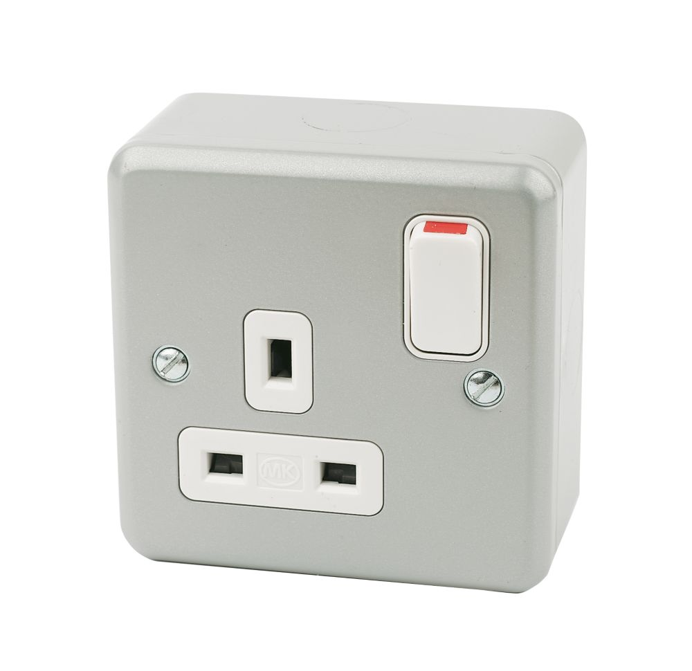 MK Metalclad Plus 13A 1-Gang DP Switched Metal Clad Plug Socket with White Inserts