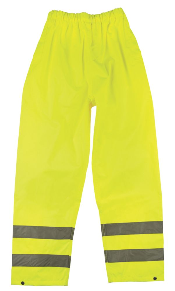 "Hi-Vis Waterproof Trousers Elasticated Waist Yellow Medium 33-34"" W 30"" L"