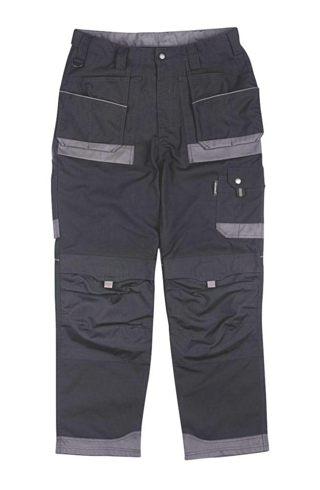 """Dickies Eisenhower Tuff Work Trousers Black / Grey 36"""" W 31"""" L"""