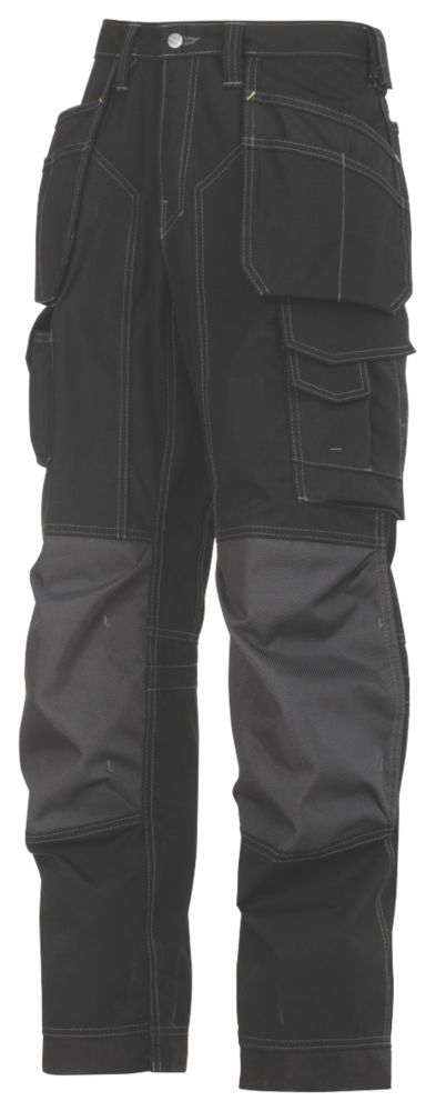 """Snickers 3223 Floorlayer Trousers Grey / Black 31"""" W 32"""" L"""