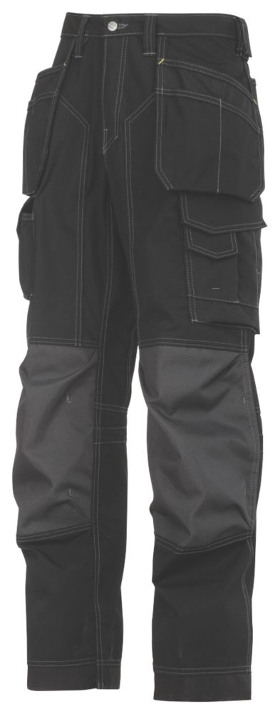 """Snickers 3223 Floorlayer Trousers Grey / Black 33"""" W 32"""" L"""