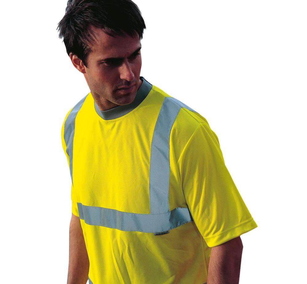 "Dickies SA22080 Hi-Vis Safety T-Shirt Saturn Yellow Medium 42"" Chest"