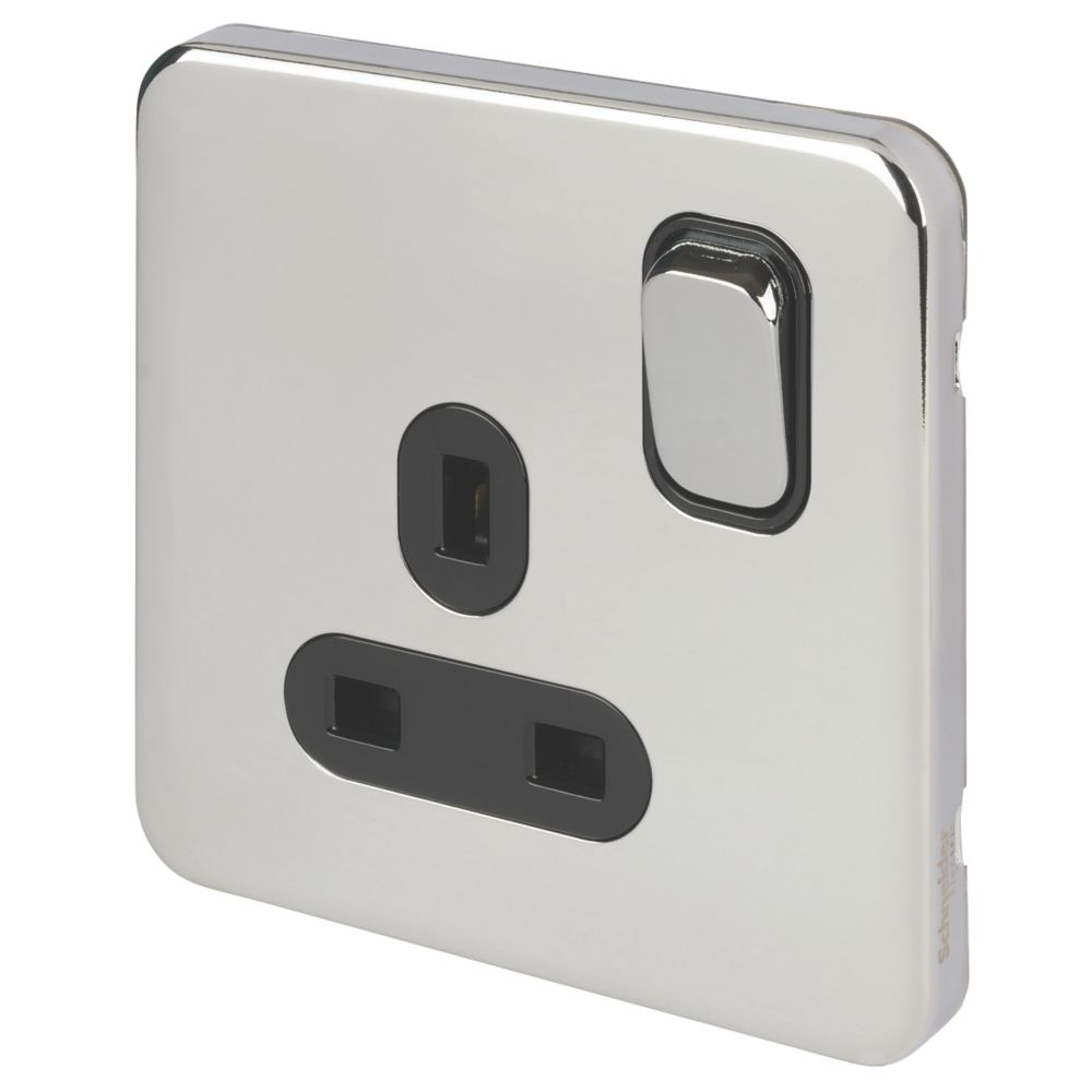 Schneider Electric Lisse Deco 13A 1-Gang DP Switched Plug Socket Polished Chrome  with Black Inserts