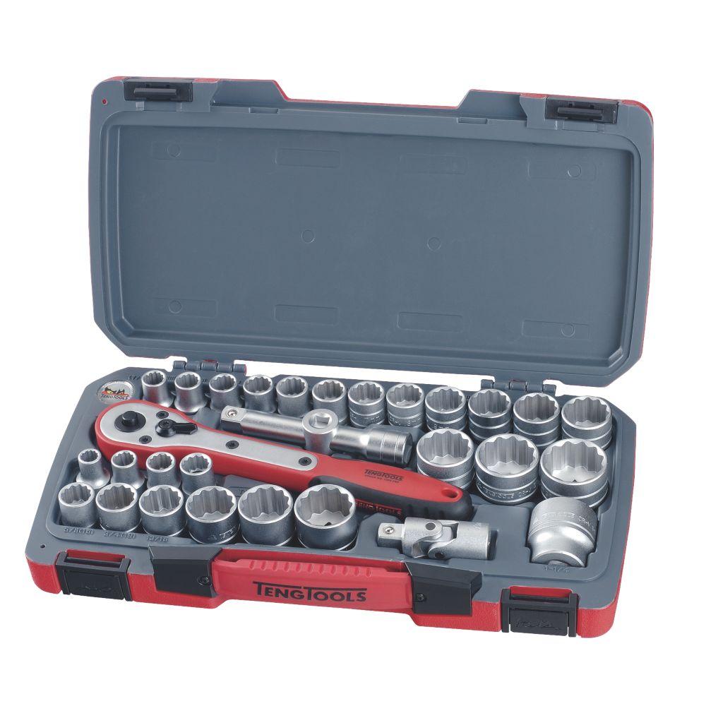 """Teng Tools T1230 1/2"""" Drive Socket Set 30 Pieces"""